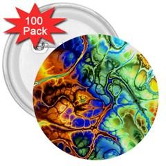 Abstract Fractal Batik Art Green Blue Brown 3  Buttons (100 pack)