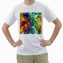 Abstract Fractal Batik Art Green Blue Brown Men s T Shirt (white) (two Sided)