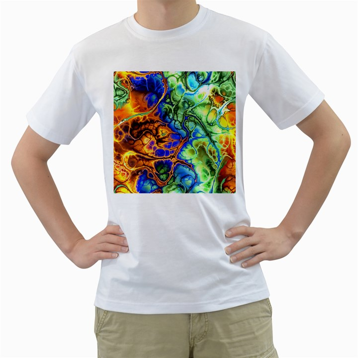 Abstract Fractal Batik Art Green Blue Brown Men s T-Shirt (White) (Two Sided)