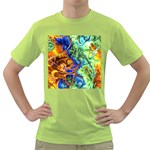 Abstract Fractal Batik Art Green Blue Brown Green T-Shirt Front