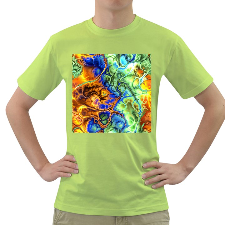 Abstract Fractal Batik Art Green Blue Brown Green T-Shirt