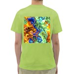 Abstract Fractal Batik Art Green Blue Brown Green T-Shirt Back