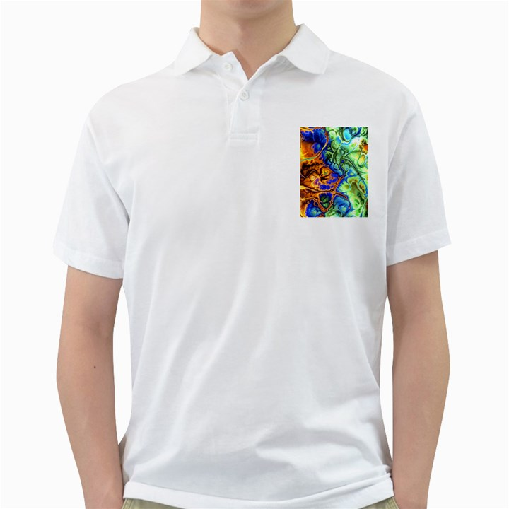 Abstract Fractal Batik Art Green Blue Brown Golf Shirts