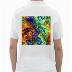 Abstract Fractal Batik Art Green Blue Brown Golf Shirts Back