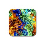Abstract Fractal Batik Art Green Blue Brown Rubber Square Coaster (4 pack)  Front