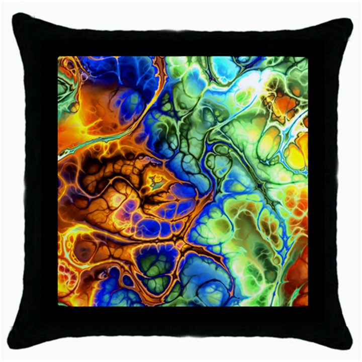 Abstract Fractal Batik Art Green Blue Brown Throw Pillow Case (Black)