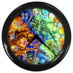 Abstract Fractal Batik Art Green Blue Brown Wall Clocks (Black)
