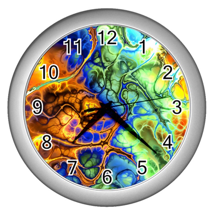 Abstract Fractal Batik Art Green Blue Brown Wall Clocks (Silver)