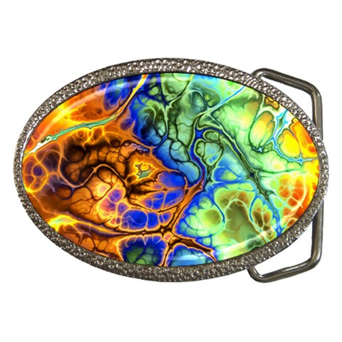 Abstract Fractal Batik Art Green Blue Brown Belt Buckles