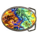 Abstract Fractal Batik Art Green Blue Brown Belt Buckles Front