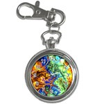 Abstract Fractal Batik Art Green Blue Brown Key Chain Watches Front