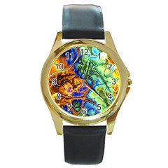 Abstract Fractal Batik Art Green Blue Brown Round Gold Metal Watch