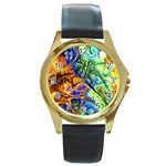 Abstract Fractal Batik Art Green Blue Brown Round Gold Metal Watch Front