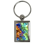 Abstract Fractal Batik Art Green Blue Brown Key Chains (Rectangle)  Front