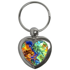 Abstract Fractal Batik Art Green Blue Brown Key Chains (Heart)