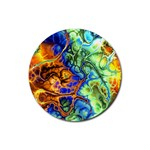 Abstract Fractal Batik Art Green Blue Brown Rubber Coaster (Round)  Front