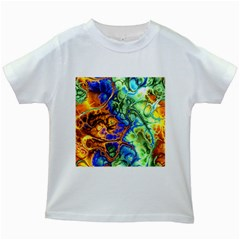 Abstract Fractal Batik Art Green Blue Brown Kids White T Shirts