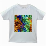 Abstract Fractal Batik Art Green Blue Brown Kids White T-Shirts Front