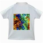 Abstract Fractal Batik Art Green Blue Brown Kids White T-Shirts Back
