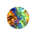 Abstract Fractal Batik Art Green Blue Brown Magnet 3  (Round) Front
