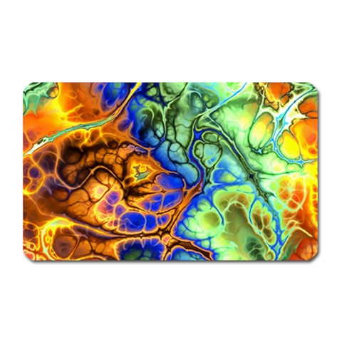 Abstract Fractal Batik Art Green Blue Brown Magnet (Rectangular)
