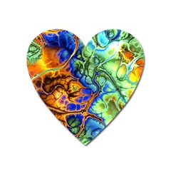 Abstract Fractal Batik Art Green Blue Brown Heart Magnet