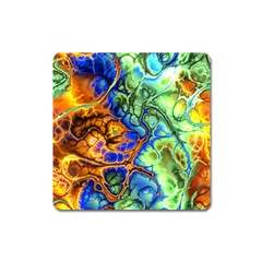 Abstract Fractal Batik Art Green Blue Brown Square Magnet