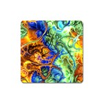 Abstract Fractal Batik Art Green Blue Brown Square Magnet Front