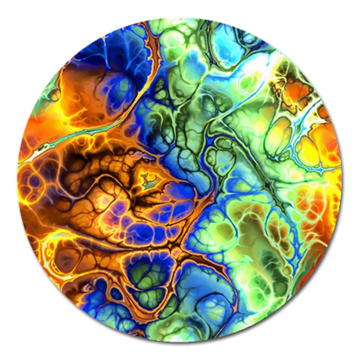 Abstract Fractal Batik Art Green Blue Brown Magnet 5  (Round)