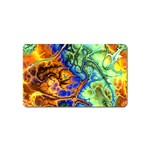Abstract Fractal Batik Art Green Blue Brown Magnet (Name Card) Front