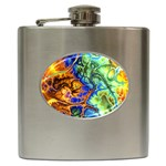 Abstract Fractal Batik Art Green Blue Brown Hip Flask (6 oz) Front