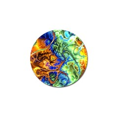 Abstract Fractal Batik Art Green Blue Brown Golf Ball Marker (4 Pack)