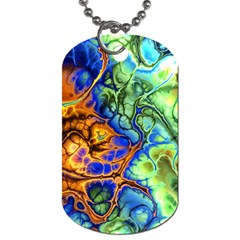 Abstract Fractal Batik Art Green Blue Brown Dog Tag (Two Sides)