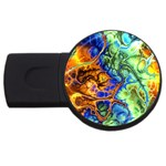 Abstract Fractal Batik Art Green Blue Brown USB Flash Drive Round (1 GB)  Front