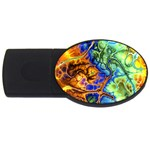 Abstract Fractal Batik Art Green Blue Brown USB Flash Drive Oval (1 GB)  Front