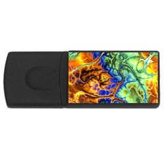 Abstract Fractal Batik Art Green Blue Brown USB Flash Drive Rectangular (2 GB)