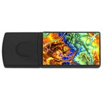Abstract Fractal Batik Art Green Blue Brown USB Flash Drive Rectangular (1 GB)  Front