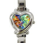 Abstract Fractal Batik Art Green Blue Brown Heart Italian Charm Watch Front