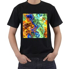 Abstract Fractal Batik Art Green Blue Brown Men s T-Shirt (Black) (Two Sided)
