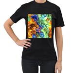 Abstract Fractal Batik Art Green Blue Brown Women s T-Shirt (Black) (Two Sided) Front