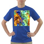 Abstract Fractal Batik Art Green Blue Brown Dark T-Shirt Front