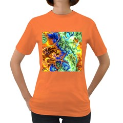 Abstract Fractal Batik Art Green Blue Brown Women s Dark T-Shirt