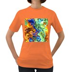 Abstract Fractal Batik Art Green Blue Brown Women s Dark T-Shirt Front
