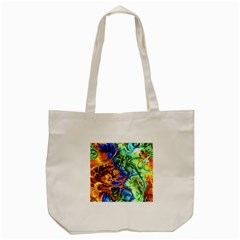 Abstract Fractal Batik Art Green Blue Brown Tote Bag (Cream)