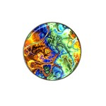 Abstract Fractal Batik Art Green Blue Brown Hat Clip Ball Marker Front