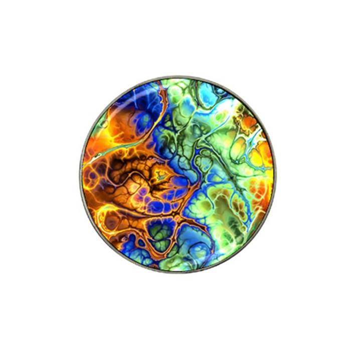 Abstract Fractal Batik Art Green Blue Brown Hat Clip Ball Marker (4 pack)