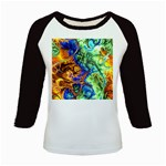 Abstract Fractal Batik Art Green Blue Brown Kids Baseball Jerseys Front
