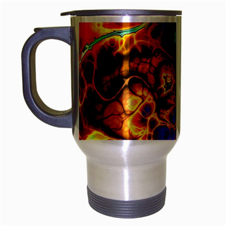 Abstract Fractal Batik Art Green Blue Brown Travel Mug (Silver Gray)