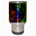 Abstract Fractal Batik Art Green Blue Brown Travel Mug (Silver Gray) Center