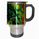 Abstract Fractal Batik Art Green Blue Brown Travel Mug (Silver Gray) Right